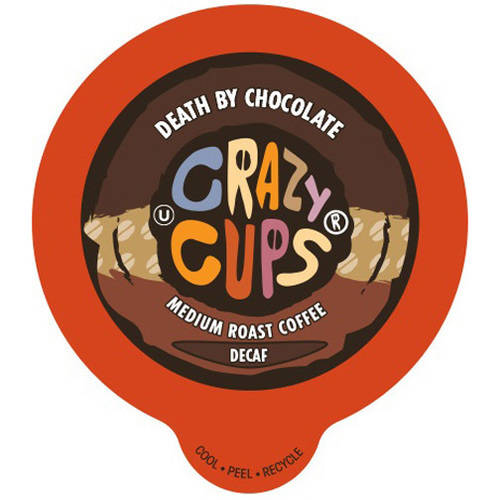 Crazy Cups Decaf Death by Chocolate Flavored Coffee Single Serve Cups, 22 count