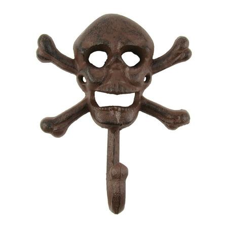 Metal Jolly Roger Wall Mount Key Ring Hook Skeleton Head Halloween Home Decor ()