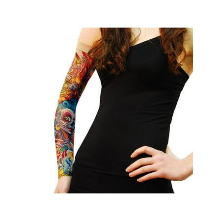 Wild Rose Unisex SINGLE Tattoo Mesh Sleeve - Sunflower - Sugar Skull - Sugar Skull Tatoo