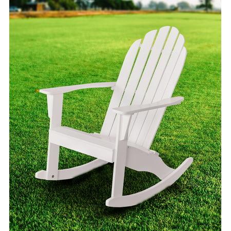 Mainstays Wood Outdoor Adirondack Rocking Chair, White