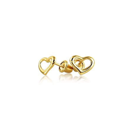 Tiny Minimalist Open Heart Shaped Stud Earrings For Women For Teen Real 14K Gold Screwback (Screwback Earrings For Women)