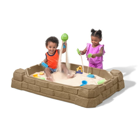 Step2 Naturally Playful 4' Rectangular Sandbox with Cover Sandstone Beige