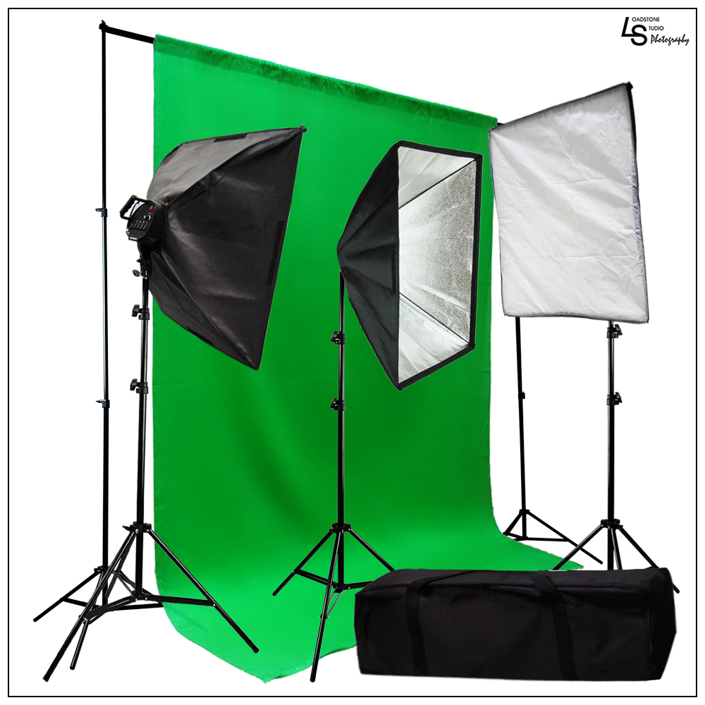3000W Triple Softbox Photo Video Lighting Kit with 20'x10' Green Muslin Background and Travel Case by Loadstone Studio WMLS0214
