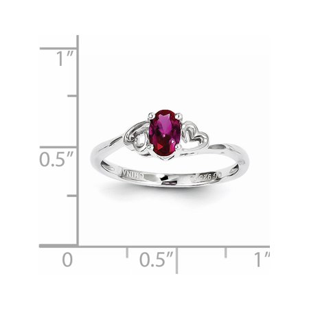 Sterling Silver Rhodium-plated Created Ruby Ring - image 1 of 2