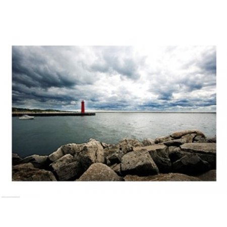 Lighthouse Folk Art (Muskegon South Breakwater lighthouse Lake Michigan Muskegon Michigan USA Canvas Art -  (24 x 18) )