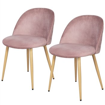 Mid-Century Velvet Upholstered 2-Dining Chairs (Pink)