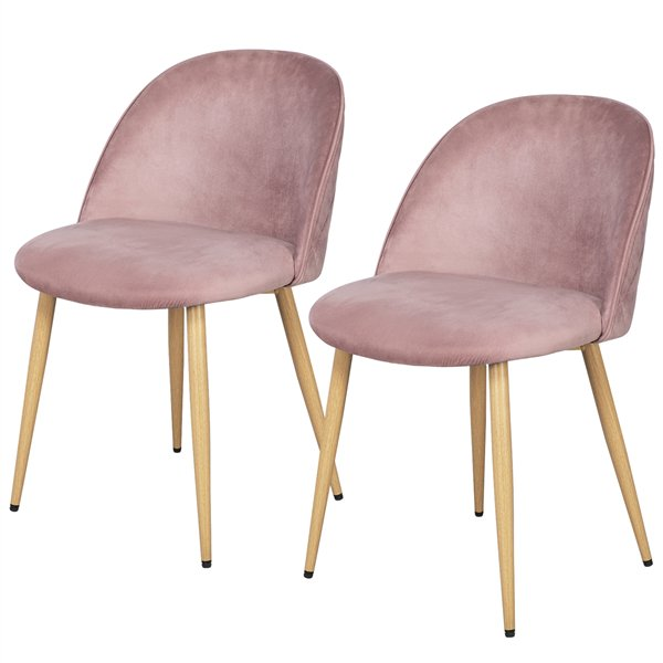 Set of 2 Dining Chairs Mid Century Kitchen Chairs Velvet Leisure Chairs Side Chairs Pink