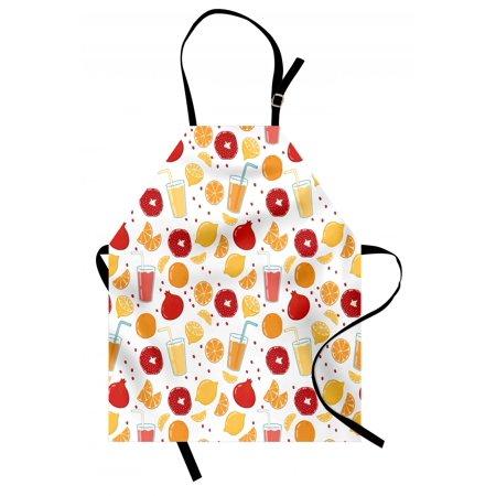 Modern Apron Fruits Pomegranate Orange Juice Kitchen Lemon Sweet Yummy Food Artsy Illustration, Unisex Kitchen Bib Apron with Adjustable Neck for Cooking Baking Gardening, Apricot Ruby, by