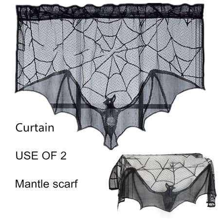 93x57CM Black Spiderweb Bat Lace Fireplace Mantel Cloth Scarf Halloween Home Decor