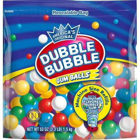 - Dubble Bubble, Assorted Fruit Flavored Gum Balls, 53 Oz.