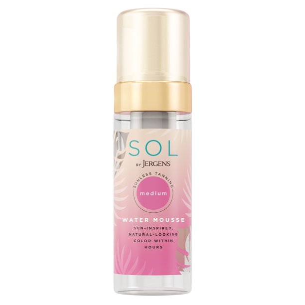 SOL by Jergens Medium Water Mousse, 5 Ounce, Water-based Self Tanner with Coconut Water, Dye-free Sunless Tanner Foam Derived from Natural Sugars