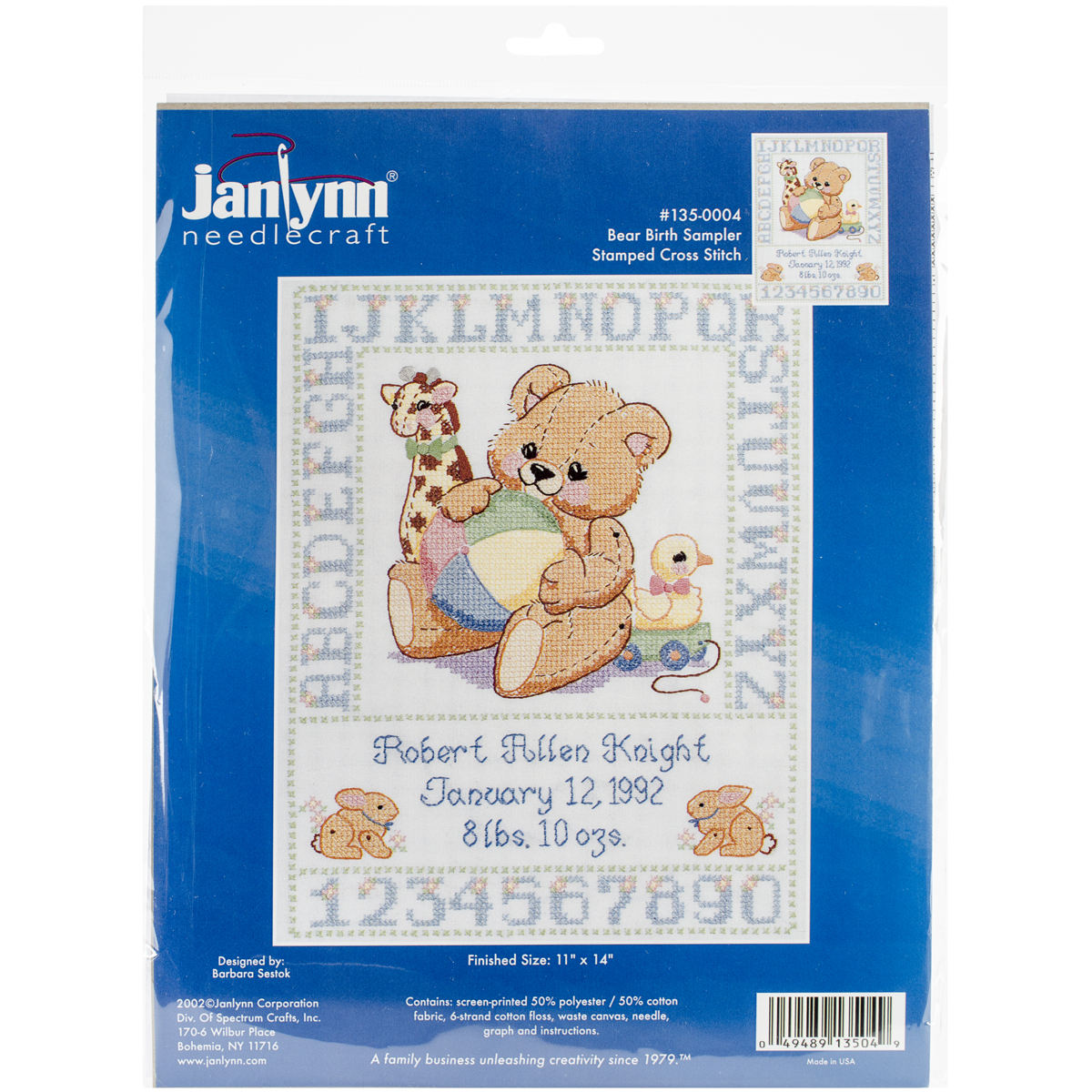 "Janlynn Bear Birth Sampler Stamped Cross Stitch Kit, 11"" x 14"""