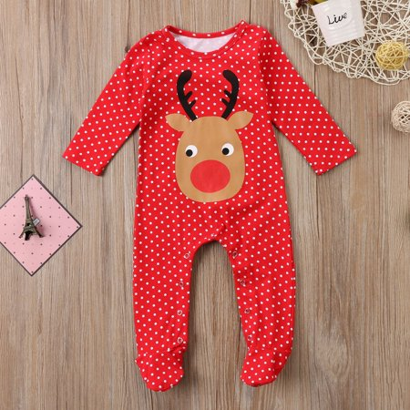 Infant Baby Girl Boy Deer Romper Jumpsuit Playsuit Outfits Christmas Pajamas - Personalized Infant Christmas Pajamas