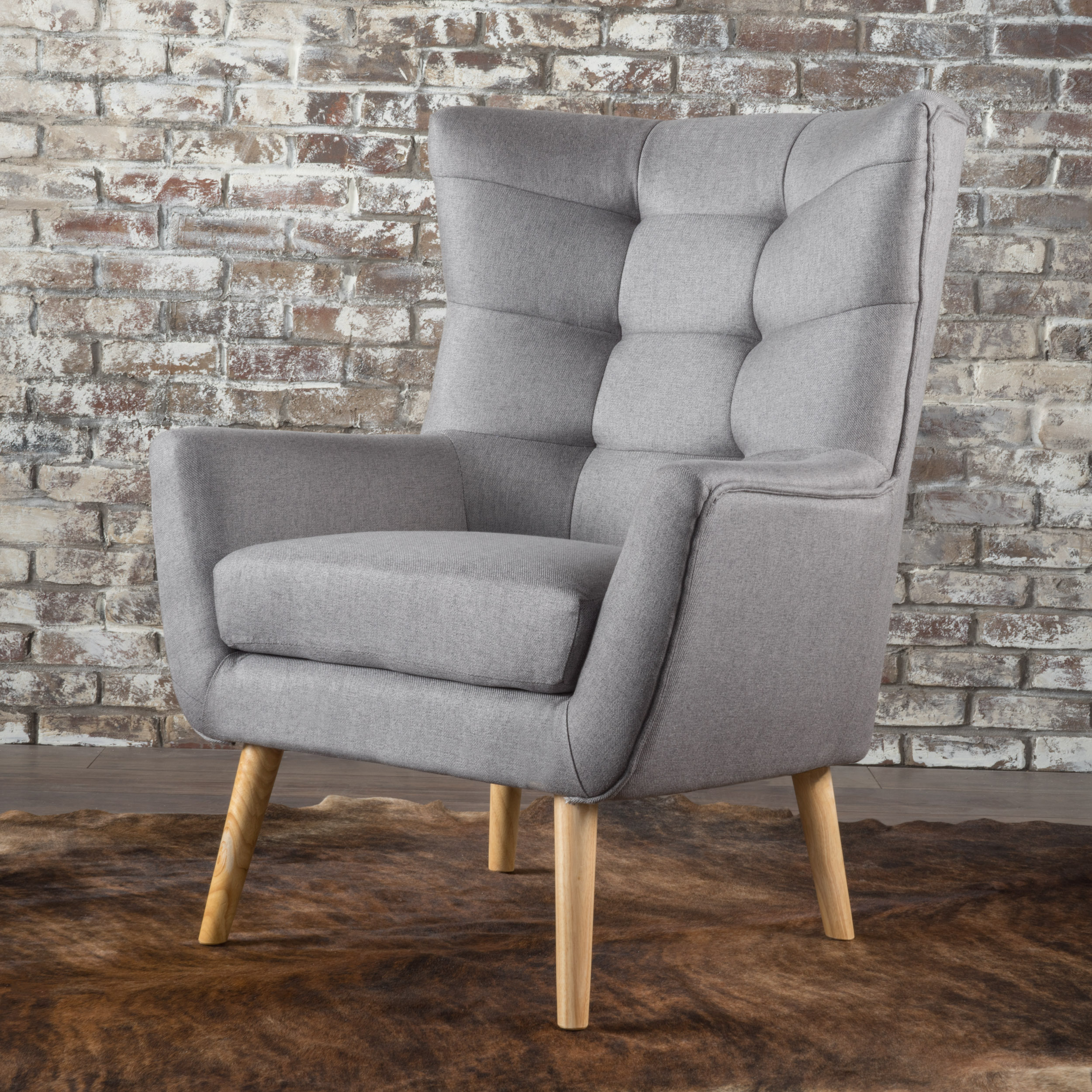 Noble House Tammy Fabric Mid Century Club Chair,Grey