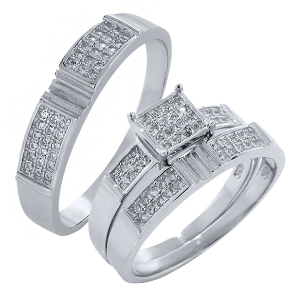 His and Hers 3 Pieces Sterling Silver and CZ Engagement Wedding Three Ring Set