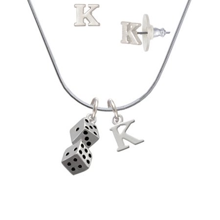 Pair of Dice - K Initial Charm Necklace and Stud Earrings Jewelry Set