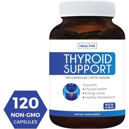 Healths Harmony Thyroid Support Supplement (NON-GMO) 120 Capsules: Support Your Energy & Increase your Metabolism For Weight Loss - Iodine & Ashwagandha Root for Thyroid (Best Foods To Increase Thyroid Function)