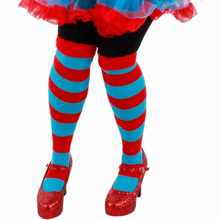 Cat In The Hat Thing 1 and Thing 2 Striped Knee Socks Adult Halloween Accessory