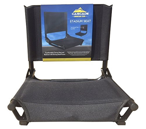 Durable Stadium Seat Fits Any Metal or Wooden Bleacher by Cascade Black by
