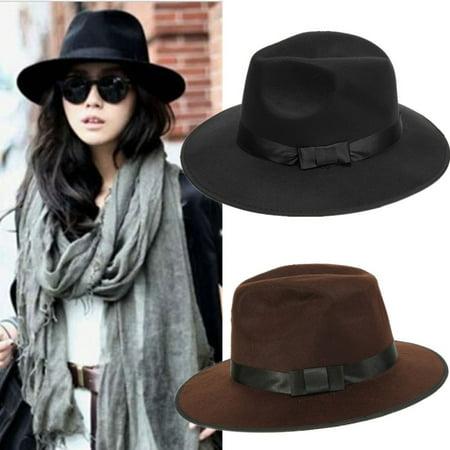 Vintage Men Women Wide Brim Wool Felt Floppy Fedora Jazz Hat Bowler Trilby Cap,Black color