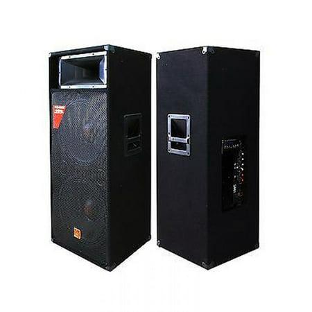 Mr. Dj PAS3000AMP Professional Dual 15-Inch Speaker 3000 Watts Max Peak Power with Amplifier and Horn Tweeter Driver (Pre Amp Dj Speakers)