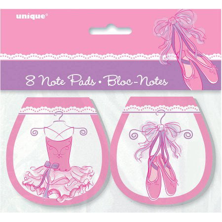 Safari Party Notepad - (4 Pack) Pink Ballerina Notepad Party Favors, 8ct
