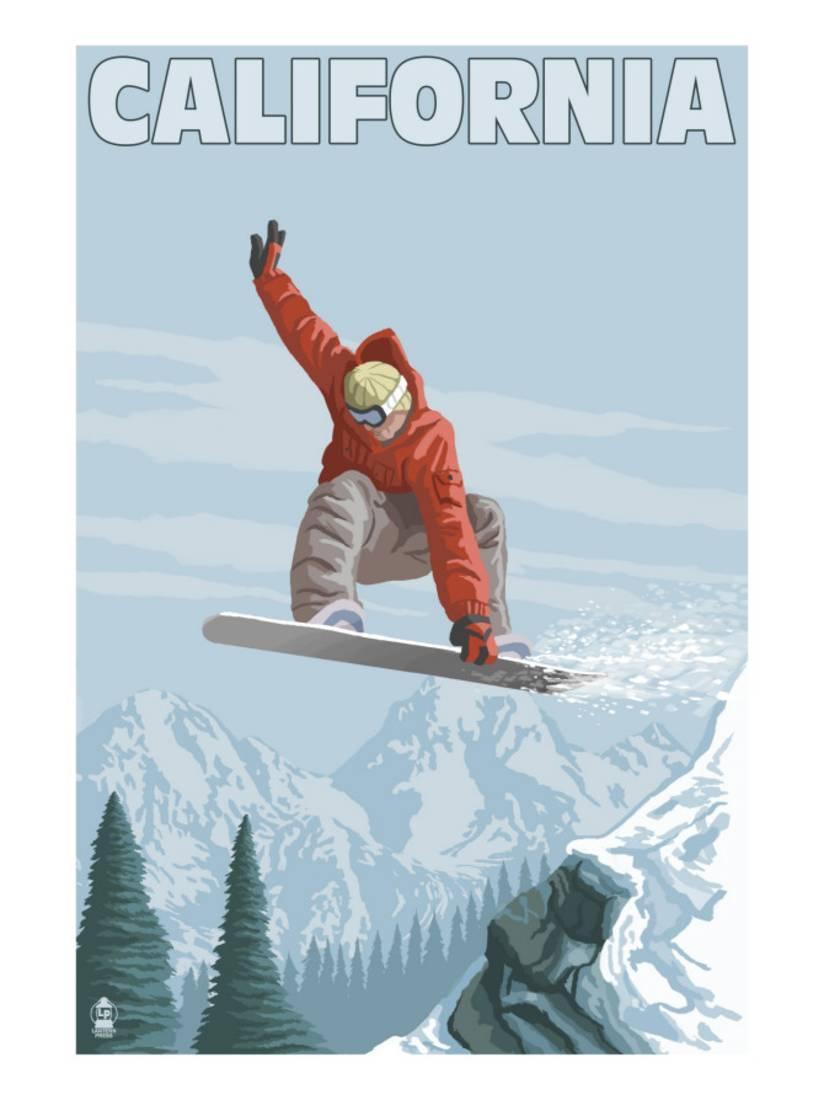 California Snowboarder Jumping Art Print By Lantern Press by Art.com