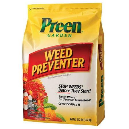 - Preen Garden Weed Preventer, 31.3 lb bag covers 5,000 sq ft
