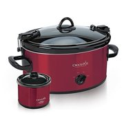 Crock-Pot 6.0-Quart Cook & Carry Slow Cooker, Manual, with Little Dipper Warmer, Red