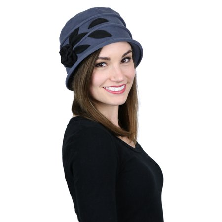 2218607c062 Fleece Hats for Women Cloche Cancer Headwear Chemo Ladies Winter Head  Coverings (Blue Grey with Black)
