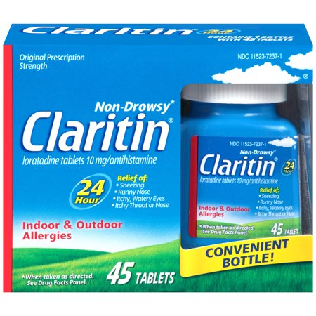 Claritin 24 Hour Non-Drowsy Allergy Relief Tablets, 10 mg, 45 Count
