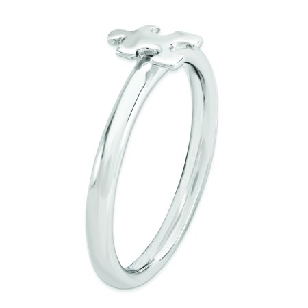 Sterling Silver Stackable Exp. Rhodium-plated Awareness Puzzle Piece Ring Size 6 - image 1 of 3