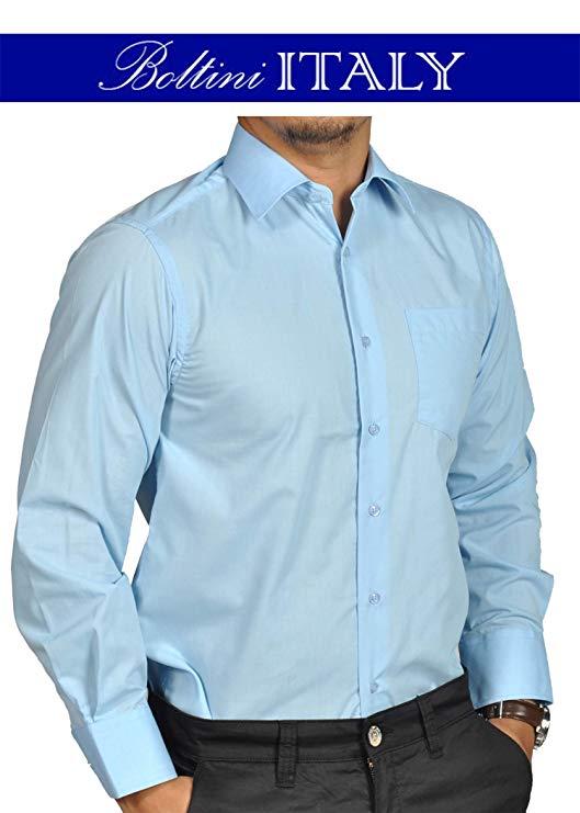 Gray Solid Mens Dress Shirt French Convertible Cuff Boltini Italy Shirts & Hemden Klassische Hemden