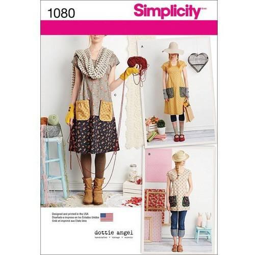 SIMPLICITY MISSES' DRESS OR TUNIC-XS-S-M-L-XL