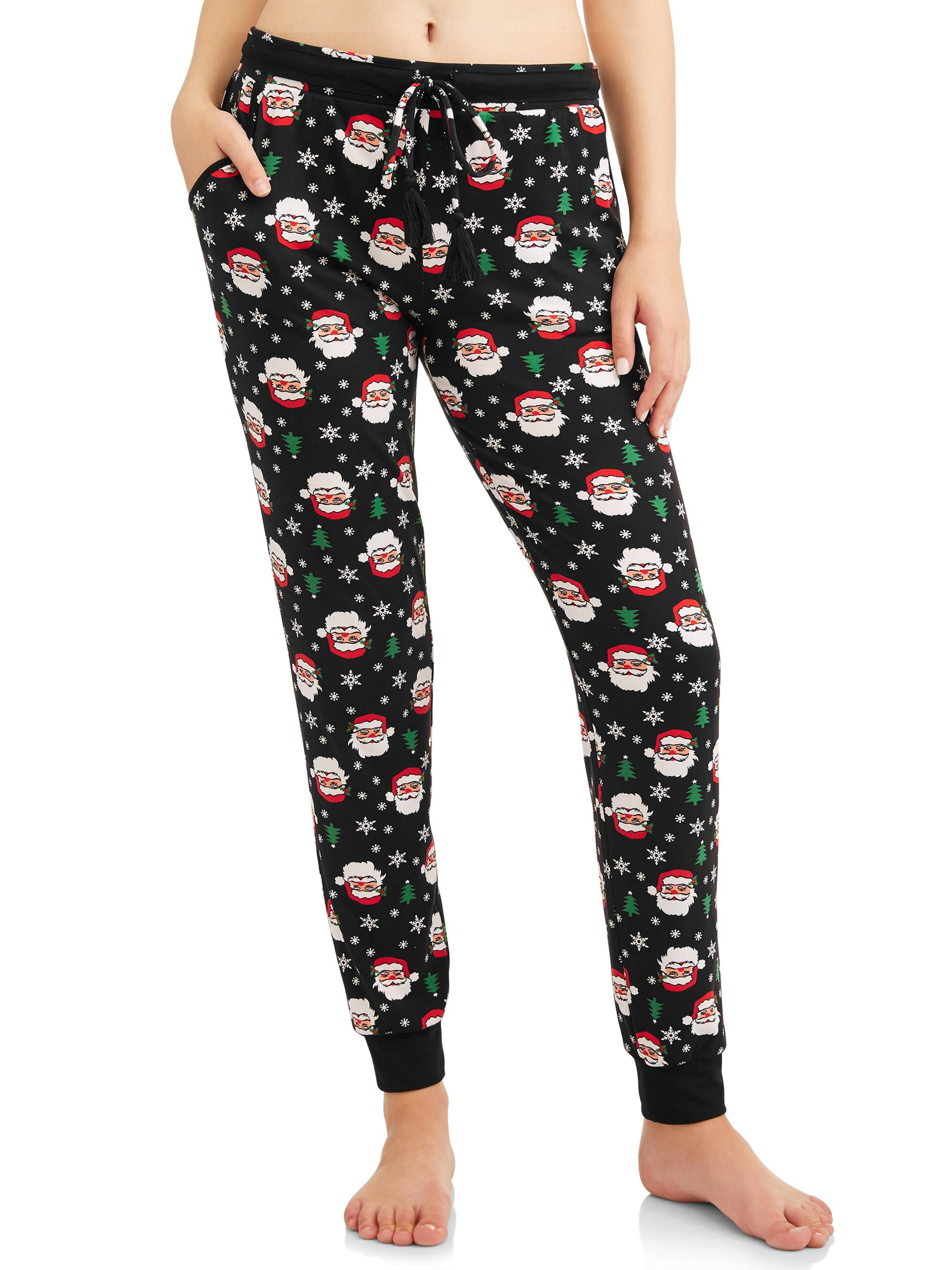 No Boundaries Junior's Holiday Christmas Printed Peached Jogger Pants
