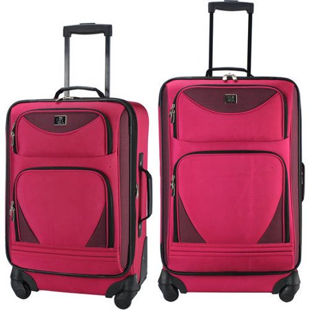 Protege 2 piece expandable spinner carry on and checked luggage set Pink (Walmart Exclusive)