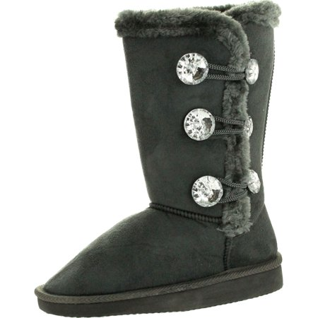 Static Girls Fashion Microsuede 9 Winter Boots with Jewel Ornament and Faux Fur