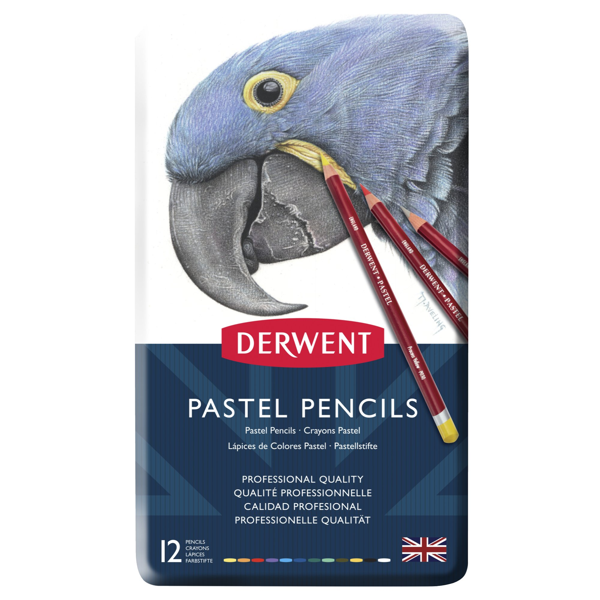 Derwent Pastel 12 Pencils Tin - Pens And Pencils