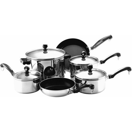 Farberware Classic Series Stainless Steel Nonstick 10-Piece Cookware Set