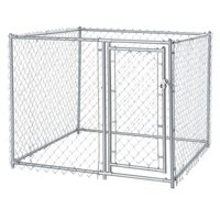 Lucky Dog Single-Door Chain Link Heavy Duty Outdoor Dog Kennel, Silver, 5'L x 5'W x 4'H
