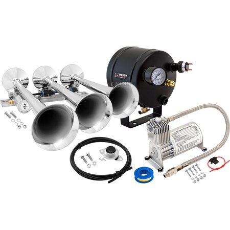 - Vixen Horns Loud 149dB 3/Triple Chrome Trumpet Train Air Horn with 0.5 Gallon Tank and 150 PSI Compressor Full/Complete Onboard System/Kit VXO8705/3118