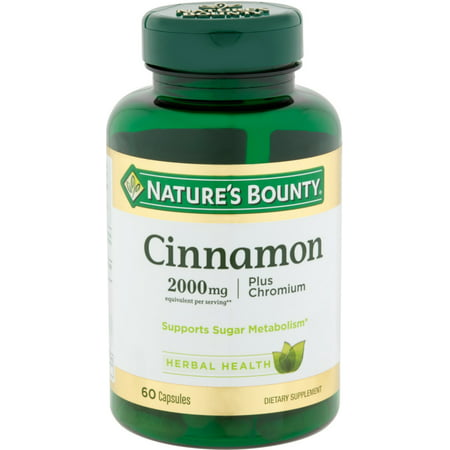 Nature's Bounty Cinnamon 2000mg Plus Chromium, Dietary Supplement Capsules 60 ea