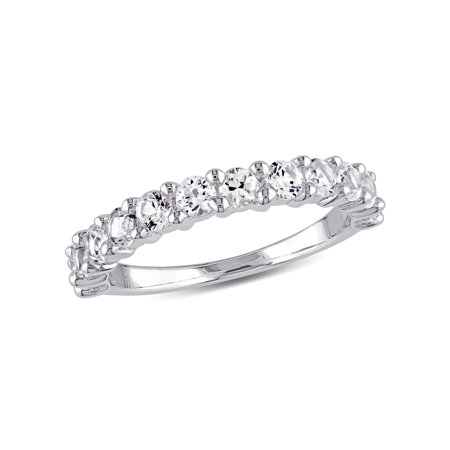 1-1/10 Carat T.G.W. Created White Sapphire Sterling Silver Semi-Eternity Wedding Band ()