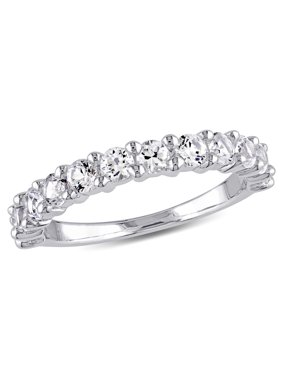 1-1/10 Carat T.G.W. Created White Sapphire Sterling Silver Semi-Eternity Wedding Band