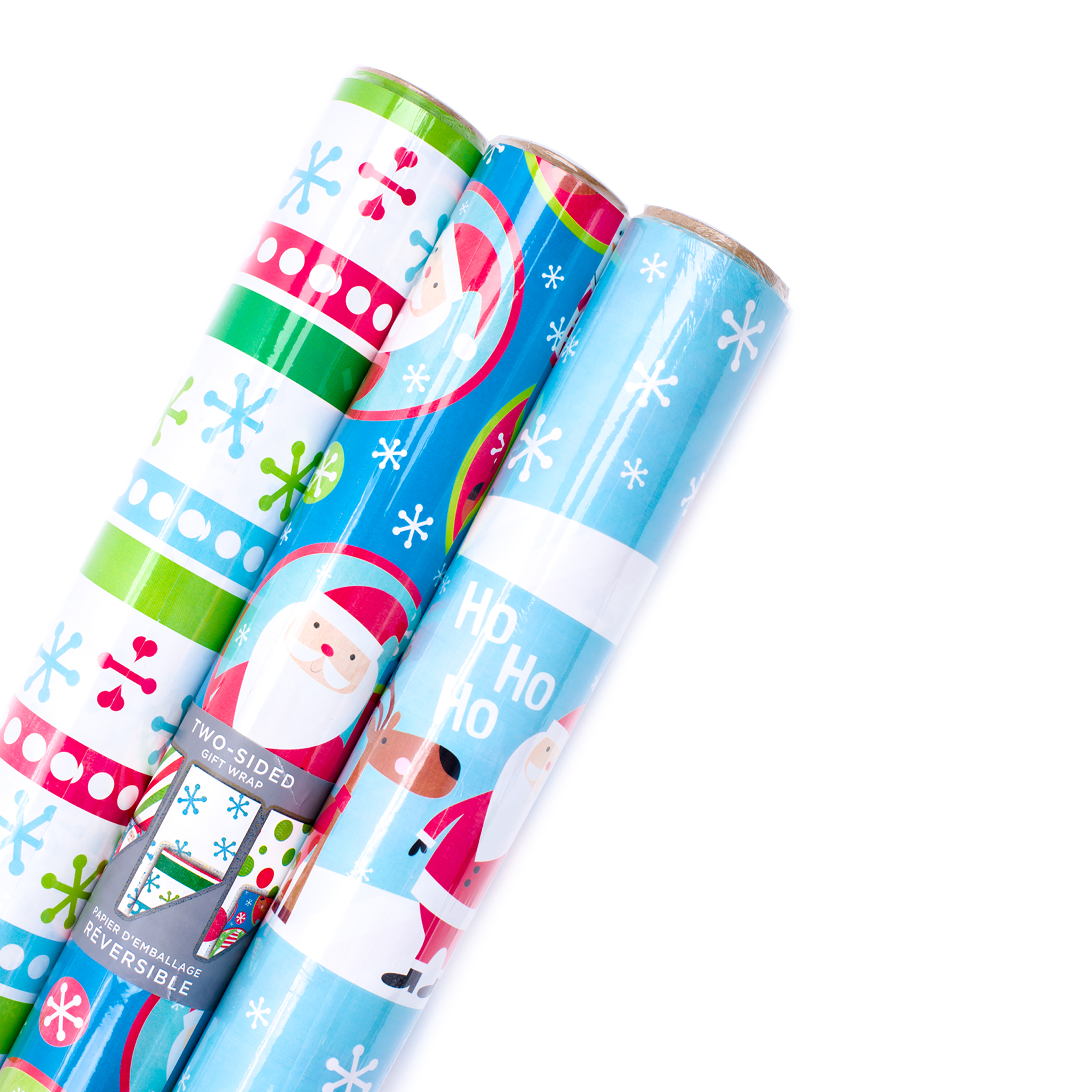 Hallmark Reversible Christmas Wrapping Paper Bundle, Kids (Pack of 3, 120 sq. ft. ttl.)