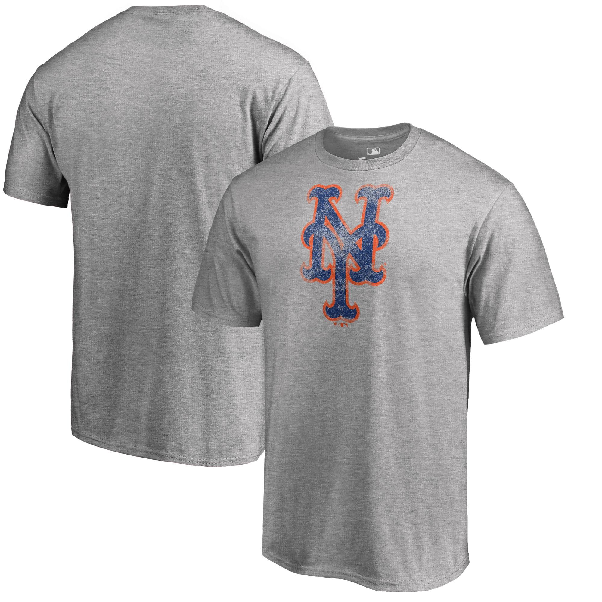 New York Mets Fanatics Branded Big & Tall Distressed Team T-Shirt - Heathered Gray