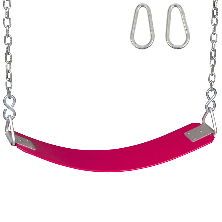 Swing Set Stuff Inc. Commercial Rubber Belt Seat with Chains and Hooks (Pink)