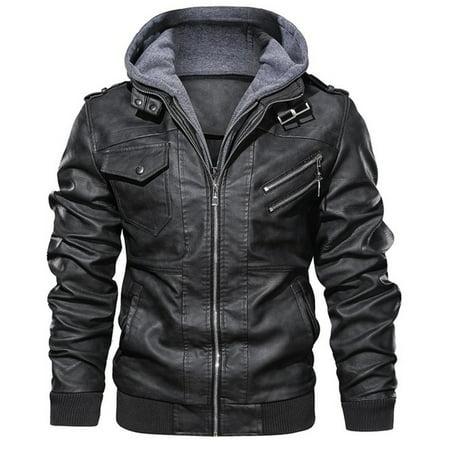 Men Distressed Leather Jacket Hooded Motorcycle Jacket Leather Jacket Mens Jackets