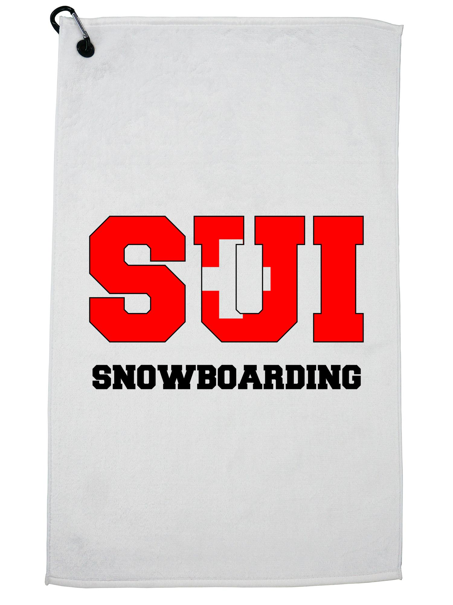 Swiss Snowboarding Winter Olympic SUI Flag Golf Towel with Carabiner Clip by Hollywood Thread