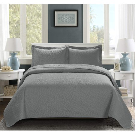 3 Piece Oversize Bedspread Gray Color -TINOS Daisy Ultrasonic Embossed Bedspread Set with Two Shams - Oversized Coverlet Queen 100x106 inches - Hypoallergenic,Fade Resistant,Wrinkle Resistant,Soft